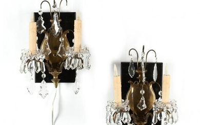 Pair of Continental Brass Drop Prism Sconces