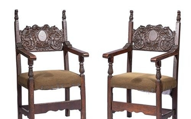 Pair of Italian Carved Walnut Hall Chairs