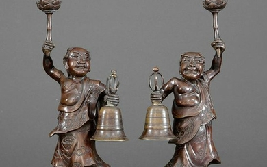 Pair of Japanese Bronze Figural Candle Holders