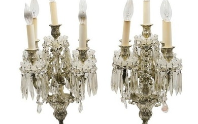 Pair of Silver Bronze Electric Candelabras