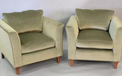 Pair of custom upholstered oversized club chairs, ht.