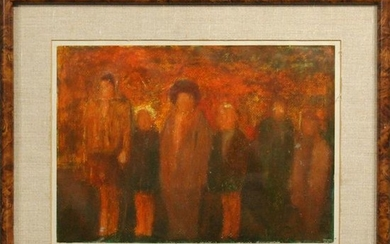 Pinto, 20th C. Modernism Figures Oil on Board Painting