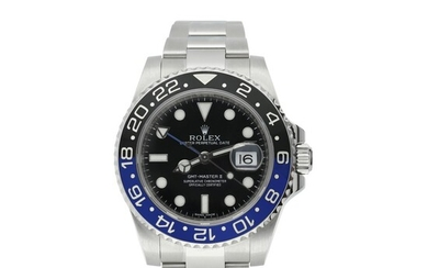 ROLEX | REFERENCE 116710 GMT-MASTER II 'BATMAN' A STAINLESS STEEL AUTOMATIC DUAL TIME WRISTWATCH WITH DATE AND BRACELET, CIRCA 2015