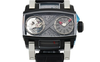 ROMAIN JEROME | MOON ORBITER, REF RJ.M.TO.MO.002.01 LIMITED EDITION PVD-COATED STAINLESS STEEL TOURBILLON WRISTWATCH WITH POWER RESERVE INDICATION CIRCA 2015
