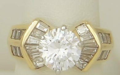ROUND 14K YELLOW GOLD ENGAGEMENT HIGH RING 1.00ct