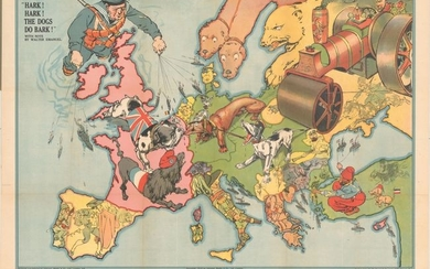 "Rare Political Caricature Pocket Map Depicting European Countries as Dogs, ""Hark! Hark! The Dogs Do Bark!"", Bacon, G. W. & Company"
