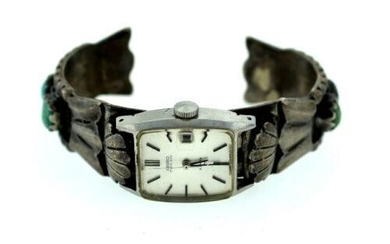 SEIKO MATIC LADY 2 JEWELS DATE WATCH BANGLE SILVER