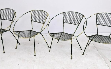 Set 4 Salterini Style Hoop Chairs. Painted green over y