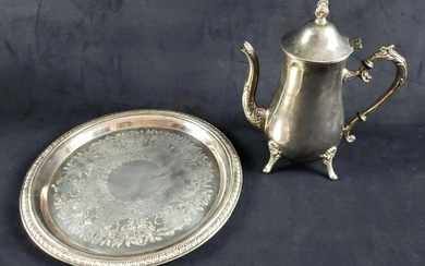 Set of Silver Plated Tray and Footed Teapot