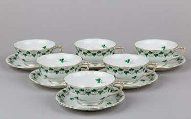 Set of Six Herend Persil Pattern Tea Cups with Saucers