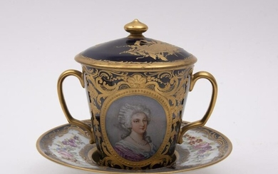 Sevres, a Large Trembleuse or Covered 2 Handled Cup
