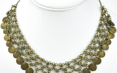 Silver Gypsy Faux Middle Eastern Coin Necklace