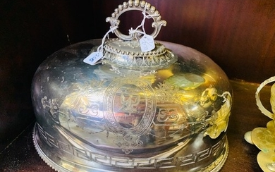 "Silver plated large meat dish cover ""best Sheffield heavy si..."