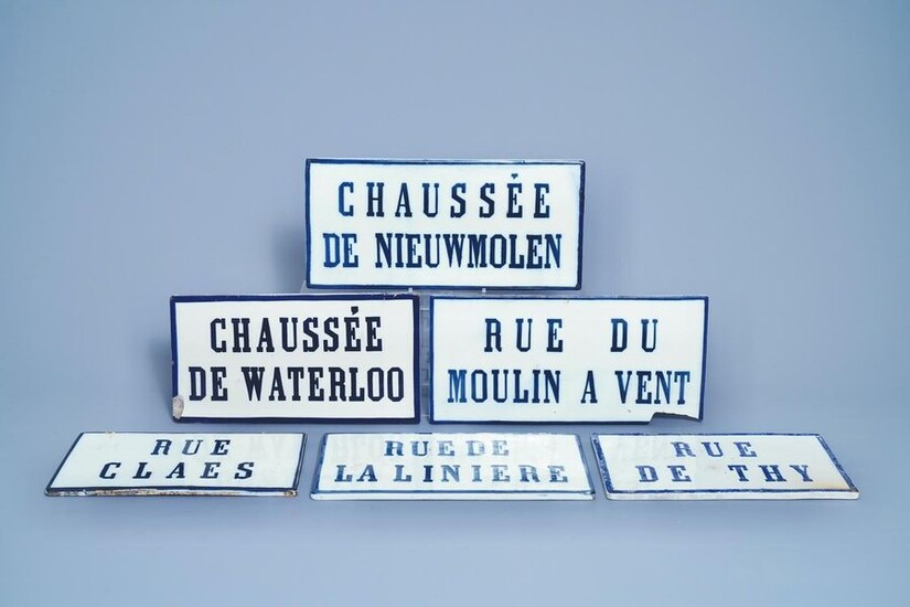 Six blue and white street name signs, Brussels porcelain, 19th C.