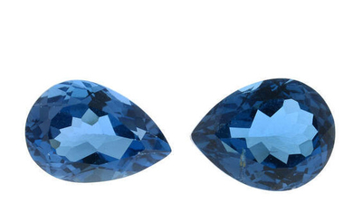 Six pear-shape blue topaz, total weight 30.8cts.