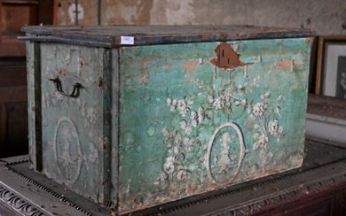 Small wooden transport trunk covered with wallpaper, late 18th century