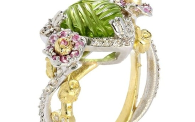 Stambolian Peridot and Pink Sapphire Floral Rose Ring