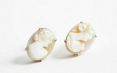 Sterling Silver Shell Cameo Earrings