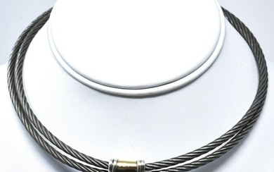 Sterling Silver & Gold Panel Choker Necklace