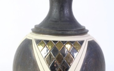 Studio Pottery Vase with Gilt Finishes & Cut Detailing, stamped to base, height 28cm