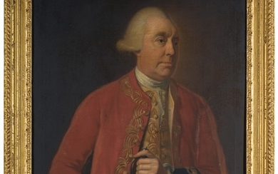 THOMAS HICKEY | PORTRAIT OF MAJOR GENERAL EDWARD SANDFORD (D. 1781), THREE-QUARTER-LENGTH, WEARING A RED COAT WITH BLACK CUFFS AND HOLDING A SWORD
