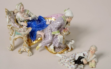 """The Lover"" two-part group in Meissen polychrome porcelain...."