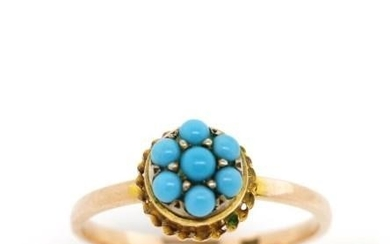 Turquoise and 9ct two tone gold ring turquoise set yellow go...