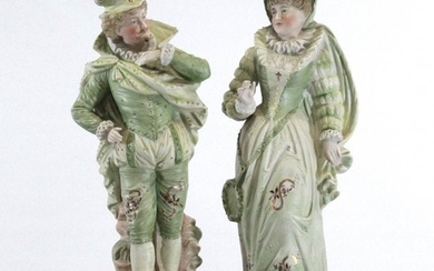 Two [2] French Porcelain Figures Aristocrat Lady & Gent