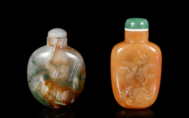 Two Chinese Hardstone Snuff Bottles