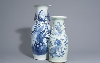 Two Chinese blue and white vases with mythological...