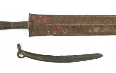 Two Chinese bronze knives, Warring States period and later, one...