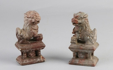 Two antique Chinese soapstone carved temple dogs on