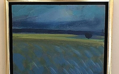 Ulrik Hoff: Landscape. Signed Ulrik Hoff. Oil on canvas. 24.5×29 cm.