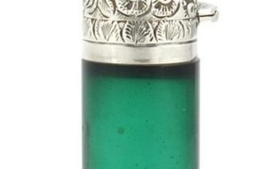Victorian green glass scent bottle with silver hinged