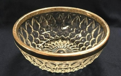 Vintage Mid Century Pressed Glass Silver-plate Bowl