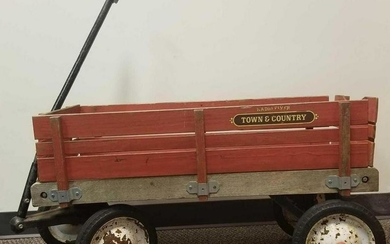 Vintage Radio Flyer Town And Country Red Wagon