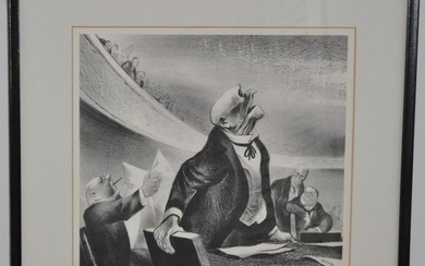 """W. Gropper """"The Opposition"""" Litho, Signed L/R"""