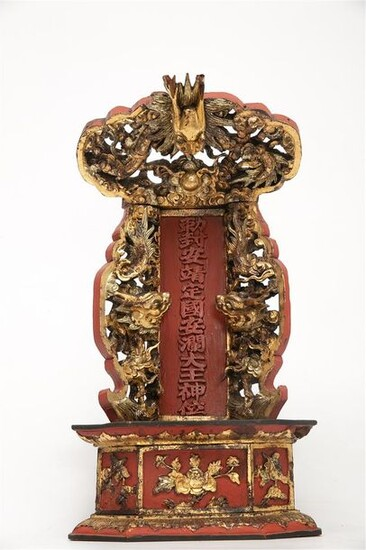 WOODEN VOTIVE ALTAR IN RED AND GOLD LACQUER...