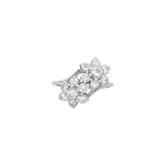 White Gold and Diamond Floret Ring