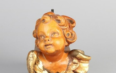 Wood carved, partly gilded cherub head with wooden