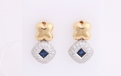 Yellow gold earrings, 585/000, sapphire and diamond.