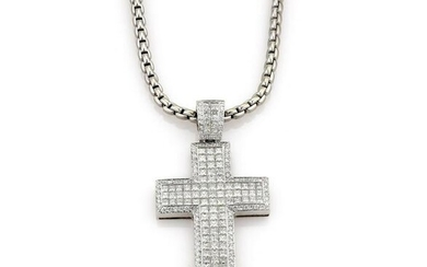 13.40ct Diamond Cross Pendant Necklace in White Gold