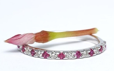 14 K / 585 White Gold Diamond and Ruby Band Ring
