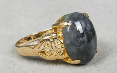 14K Yellow Gold & Black Jade Asian Motif Ring