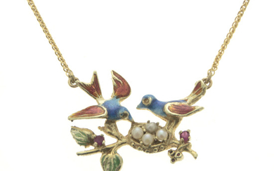 14k Yellow Gold Enamel, Pearl and Ruby Necklace.