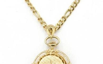 14k Yellow gold diamond locket watch on chain
