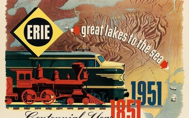DESIGNER UNKNOWN. ERIE / GREAT LAKES TO THE SEA / CENTENNIAL YEAR. 1951. 22x30 inches, 56x76 cm.