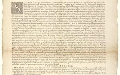 """1735. (AISNE. ST QUENTIN. CANVAS BROKER). """"REGULATIONS FOR BROKERS."""" (title). Given to SAINT-QUENTIN in our Police Hearing, August 17, 1735 Blazon of the City & Lettrine. Order in 7 articles: 1°) On what being right. We order all the Brokers of this..."""
