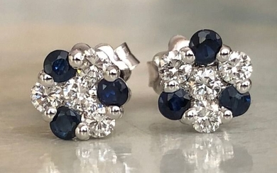 18 kt. White gold - Earrings - 0.50 ct Diamond - Sapphires