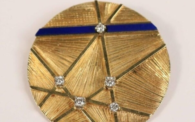 18K Yellow Gold Diamond & Enamel Circular Pin